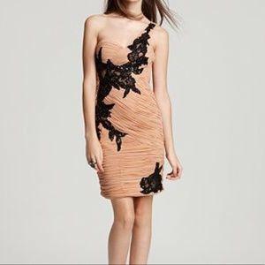 {Sue Wong} Designer one-shoulder appliquéd dress